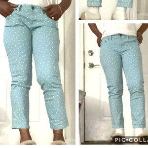 J Crew polka dot stretch denim crop matchstick 27